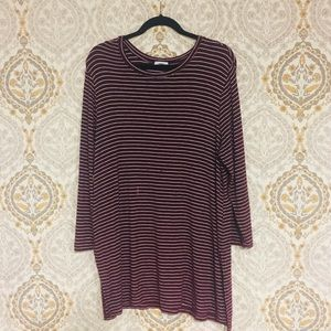 Large burgundy white striped long sleeve shirt